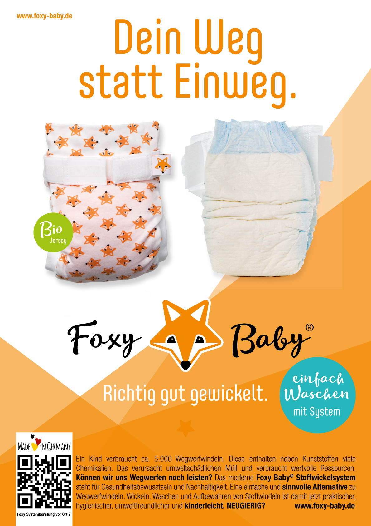 Foxy Baby Plakataktion Stoffwindeln Made in Germany Deutschland