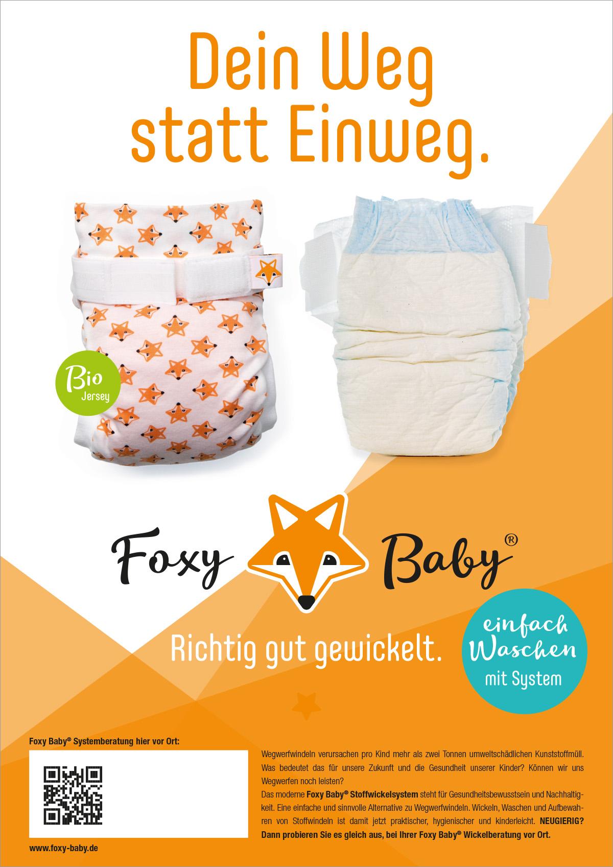 Plakat Foxy Baby - Dein Weg statt Einweg - Stoffwindeln Werbung